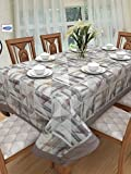 #8: Clasiko 6 Seater Fabric Table Cover; Grey Brown Triangles; Anti Slip; 60x90 Inches; D'Décor Fabric