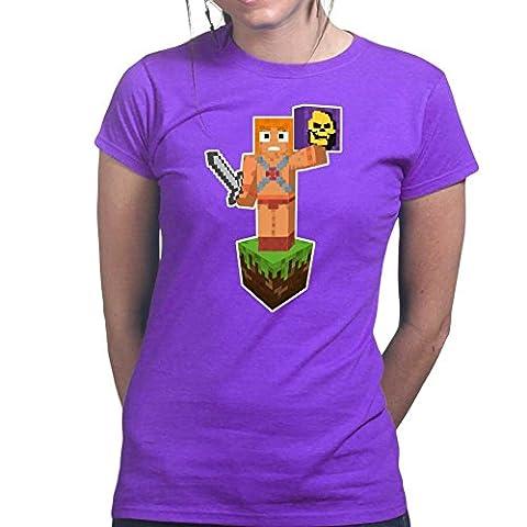 Building Blocks Skeleton Ladies T Shirt (Tee, Top) Medium Purple