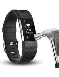 Malloom Milanesa de acero inoxidable reloj correa pulsera banda + película HD para Fitbit Charge 2 (Sólo 1PC Protector de pantalla)