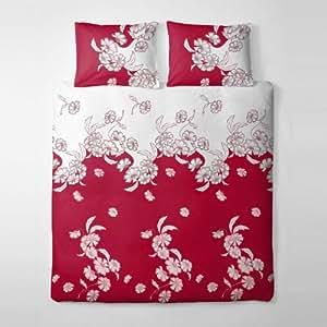 2 tlg. etérea Premium Baumwolle Bettwäsche Einzelbettgröße Kim Rot Weiss Blüten Blumen Traum - 135x200 cm, 80x80 cm