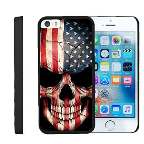 turtlearmor | Kompatibel für Apple iPhone SE Fall | iPhone 5/5S Fall [Slim Duo] Zwei Stück Hard Cover Slim Clip auf Fall auf Schwarz -, US Flag Skull (Virgin Iphone 4 Mobile-handys)