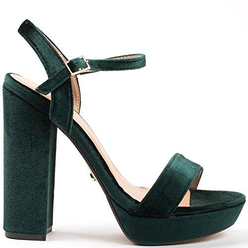 Ideal Shoes Sandales Effet Velours à Talon Épais Vainuia Vert