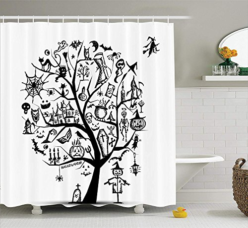 EUHOMES Halloween-Dekorations-Duschvorhang, Skizzen-Art-Halloween-Baum mit gespenstischen Dekorationsgegenständen und böser Hexe auf Besen, Badezimmerzubehör, Schwarz-Weiß 165x180 cm