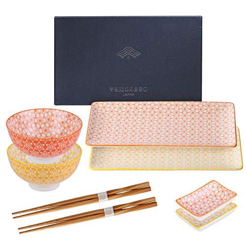 vancasso serie Natsuki Vajillas platos de sushi 8pcs para 2 personas Dimensiones: 2x Platos para sushi 10.5 pulgadas /26.8x14.7x2cm 2x Platos para salsas 3.5 pulgadas 8.8x8.8x2cm 70ml. 2 Cuencos 4.5 pulgadas 11.3x6cm 330ml  2x Palillos 23cm. Material...
