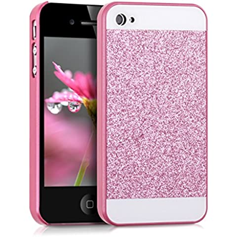 kwmobile Funda Hardcase Diseño rectánculo brillantina para Apple iPhone 4 / 4S en rosa fucsia blanco