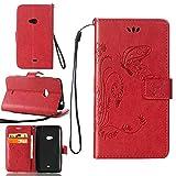 Guran Custodia in Pu Pelle Flip Cover per Microsoft Lumia 625 Smartphone avere Portafoglio e Funzione Stent Modello Embossato di Farfalla Copertura Protettiva - rosso