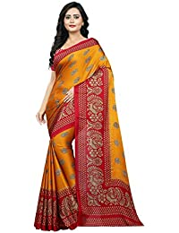 Jaanvi Fashion Women's Printed Crepe Silk Kalamkari Printed Saree (saree-2018-yellow)