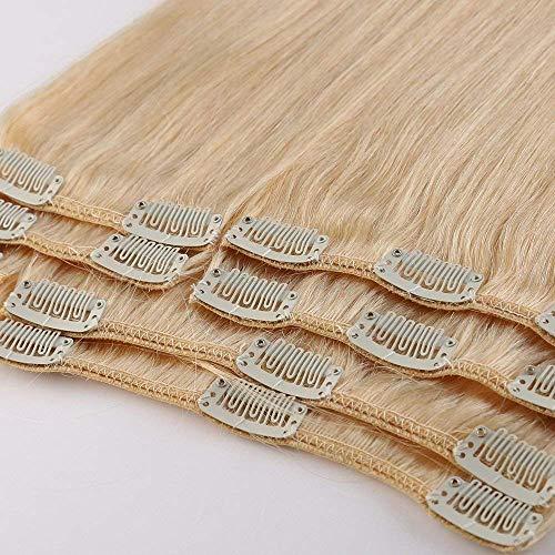 100% Remy-Echthaar Clip-In-Extensions für komplette Haarverlängerung 120g-60cm (#613 Hellblond) 20 Montage-clips