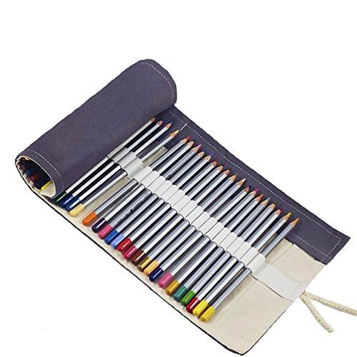 Kunst-schubladen (Amoyie Wrap Leinwand Stifterolle für 72 Buntstifte und Bleistifte Stifteetui Roll-up Mäppchen für Künstler, Verpackung Mehrzwecktasche für Reisen / Schule / Büro / Kunst (keine Schreibzeuge im Lieferumfang), Grau)