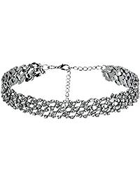 Daesar Joyería Acero Inoxidable Gargantillas Mujer Choker Necklace con Circonita Hueco Pattern Plata Collar 30.2x1.6CM