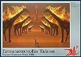 Bild mit Rahmen Salvador Dali - Brennende Giraffen - braun - Holz blau, 84.0 x 59.0cm - Premiumqualität - , Surrealismus, Klassische Moderne, Fantasie, Wohnzimmer, Treppenhaus - MADE IN GERMANY - ART-GALERIE-SHOPde