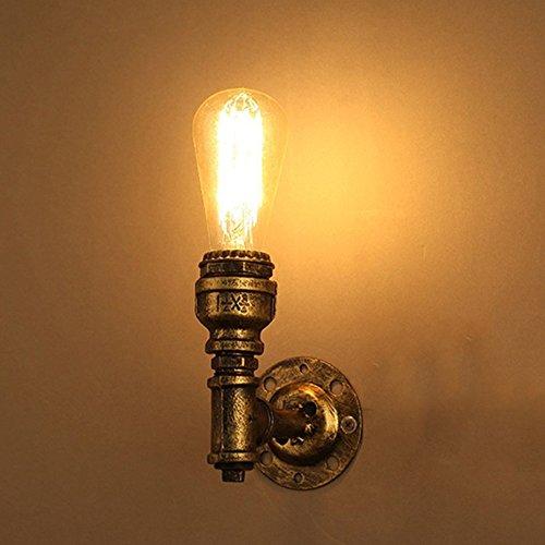 Miffen European-Stil Retro Loft Edison E27 1-Licht Vintage Industrial Steampunk Wandleuchte Wandleuchte Wasserrohr Wandleuchte Bedside Home Deco Wandlaterne (Kerze Wandleuchte Treibholz)