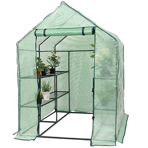 Yongtaifeng Serre de Jardin Chaude Maison Tente de Plante Serre pour tomates 143x143x195cm 6 Étages en Vert Transparent