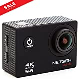 NETGEN Sports Action Camera 16 MP 4k WiFi Ultra HD Waterproof with 25 Accessories including Car Mount, Carry Bag, Control Watch, 2 Batteries