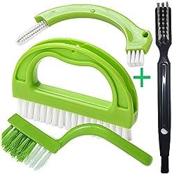 Brosse Pour Salle De Bains, Cuisine Et Le Ménage, Joint Brosse Pour Nettoyage Sol Fenêtre Moisissure (4 Pinceaux Inclus) Vert