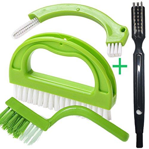 Cepillo Para Limpieza La Cocina Y El Baño, Cepillo Para Limpieza Piso Ventana Junta Mould Limpieza Cepillo (4 Cepillos Incluidos) Verde