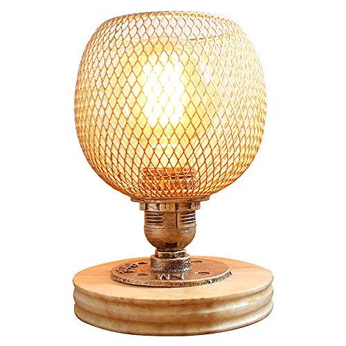 Lithx Loft Steampunk Industriel Pipe à Eau Table Bureau Lumière Rétro Fer Sable Réseau E27 1-Lumière Lampe de Bureau Bois Base Tabel Lampe avec Gradateur