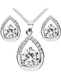 MYA art Damen Halskette Ohrstecker Schmuckset 925 Sterling Silber Tropfen  Oval Anhänger mit Zirkonia Kette Ohrringe 6b49e880e9
