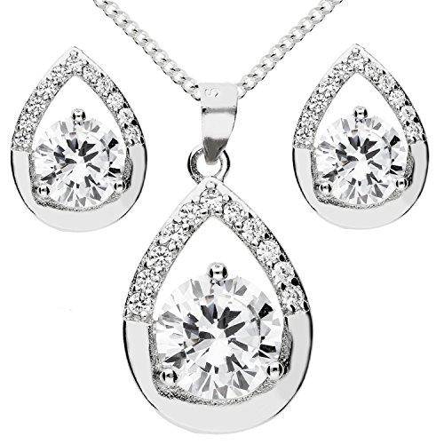 MYA art Damen Halskette Ohrstecker Schmuckset 925 Sterling Silber Tropfen Oval Anhänger mit Zirkonia Kette Ohrringe Set Brautschmuck MYASIKET-85