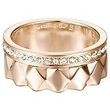 ESPRIT Damen-Stapelring JW52891 ROSE Ring Edelstahl teilvergoldet Glas transparent Gr. 60 (19.1)-ESSE11041C190