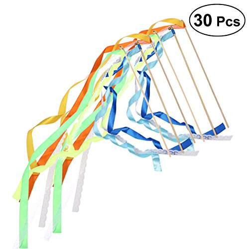 HEALIFTY 30pcs Zauberstäbe Ribbon Streamer Fairy Stick mit Glocke Spitze Partei Hochzeit Bevorzugungen Supplies (Verschiedene Farben) (Spitze Große Glocke)