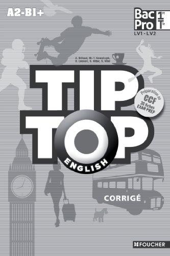 Tip Top English 1e et Tle Bac Pro A2-B1+ : Corrigé par Annick Billaud