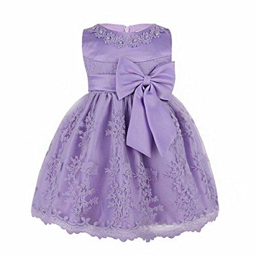 iiniim Baby Mädchen Prinzessin Kleid Blumenmädchenkleid Taufkleid Festlich Kleid Hochzeit Partykleid Festzug Babybekleidung Gr. 68-92 Hell Lila 86-92/18-24 Monate