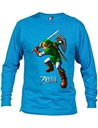 Camiseta Zelda (attack) manga larga azul claro (Talla: Talla S Unisex Ancho/Largo [50cm/69cm] Aprox])