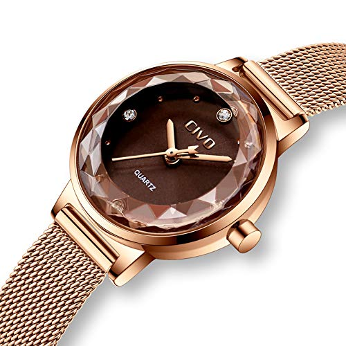 CIVO Relojes para Mujer Reloj Damas de Malla Impermeable Minimalista Oro Rosa Elegante Banda de Acero...