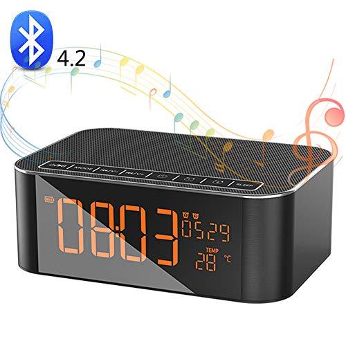 SHENGY Tragbarer Bluetooth-Wecker-Lautsprecher, HD-Stereo-Klangqualität, Touch-Steuerung, Support-Zeit, Temperatur, Mikrofon, TF-Karte, AUX,2000mAh (Die Besten Auto-stereo-system)