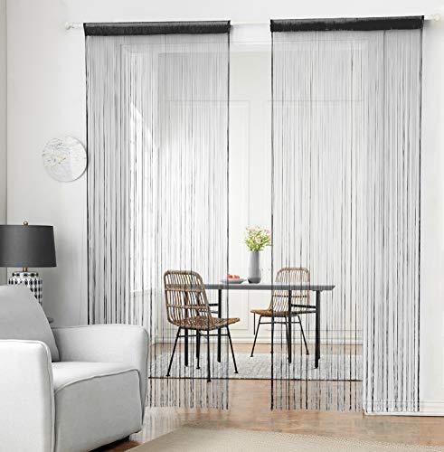 HSYLYM Stricken String Vorhang Panels Dicht Polyester Fringe Vorhang Fliegengitter Raumteiler für Tür Fenster Decor (Schwarz,90x200cm)