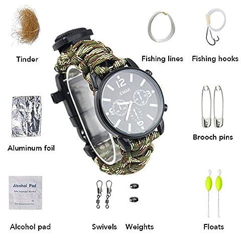 ZENDY 16 IN 1 Paracord corde avec montre bracelet et firestarter, sifflet, boussole, kit de pêche, kit de survie, multifonctions extérieur outils de survie (16 Fonction en 1, 9 Types intérieur corde bracelet) (Camouflage vert)