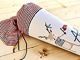Schultüte I Schultüte aus Stoff I Zuckertüte I Schultüte Jungen I Einschulungstüte I Schultüte Pirat I Schultüte Mädchen I maritim I rot I weiß I 85 cm I verwandelbar als Kissen