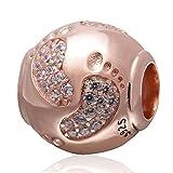 Rose Gold Baby Footprint Charms echtes 925 Sterling Silber Cute Baby Füße Charme mit Kristall klar für europäischen beacelet