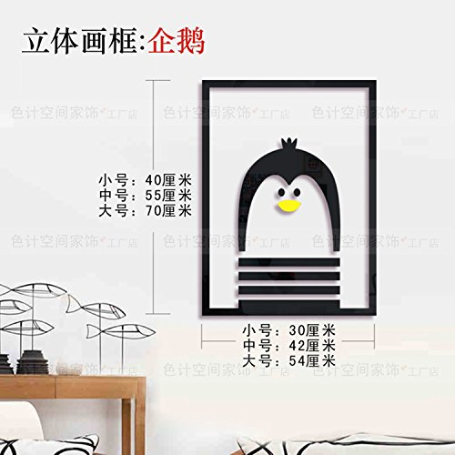 Hongrun Picture Frame3Dacrylic Solid Surface Wall of The Living Room Dining Room Bedroom Creative Sticker Cartoon Animal Combination.Thatthe Penguinsa,Small (Animal Sticks Small)