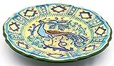 Art Escudellers Ceramica Dipinta A Mano con Oro 24K, Decorato al Stile bizantino Verde. 38508.v - Piatto/Piatto da Parete