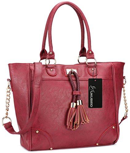 Kukubird Damen Designer Leder Stil Große Quaste Detaillierung Große Tasche Schulter-Satchel-Handtasche Iron Rot