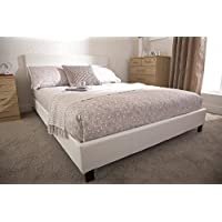 Home Source Modern Low Bedstead Bed Frame with Wooden Slats, Faux Leather, White, Double, 91 x 148 x 200 cm