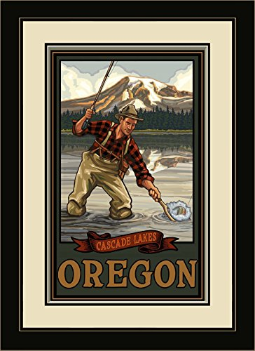 Northwest Art Mall Cascade Seen Oregon Mountain Lake Fisherman gerahmtes Wandbild Art von Paul A. lanquist, 13 von 40,6 cm