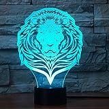 Jinson well 3D löwe Tiger Nachtlicht Lampe optische Nacht licht Illusion 7 Farbwechsel Touch Switch Tisch Schreibtisch Dekoration Lampen perfekte Weihnachtsgeschenk mit Acryl Flat USB Spielzeug