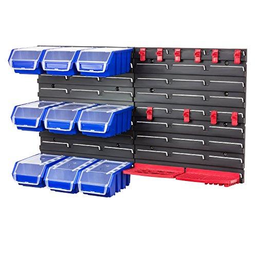 f4d2daa3875e Werkzeugwand Wandregal inkl. Stapelboxen m. Deckel blau Werkzeug Halterung  Steckregal Wandplatten 9 Boxen