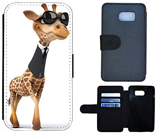 Etui Flip Cover Schutz Hülle Handy Tasche Case für (Apple iPhone 6 / 6s, 1048 Totenkopf Sensenmann Zigarette) 1045 Giraffe Animiert Braun Schwarz Weiß