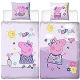 Mädchen Biber-Kinder-Bettwäsche Peppa Wutz Pig Chirpy 135 x 200 cm + 80 x 80 cm Lila Rosa Pink 100% Baumwolle Flanell Sonne Bettzeug Bettbezug Kissen-Bezug 2 Motive deutsche Größe Reißverschluss