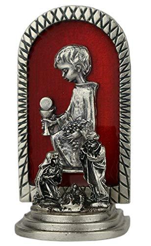 Ricordo della prima comunione rosso - bambino in preghiera con calice