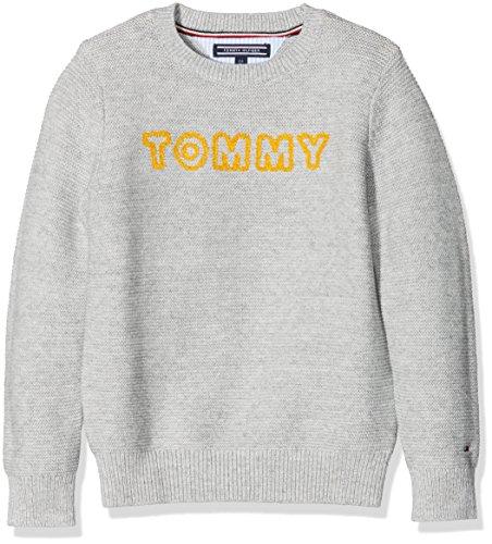Tommy Hilfiger Jungen Pullover Ame Logo CN Sweater L/S, Grau (Light Grey Htr 054), 176 (Herstellergröße: 16)