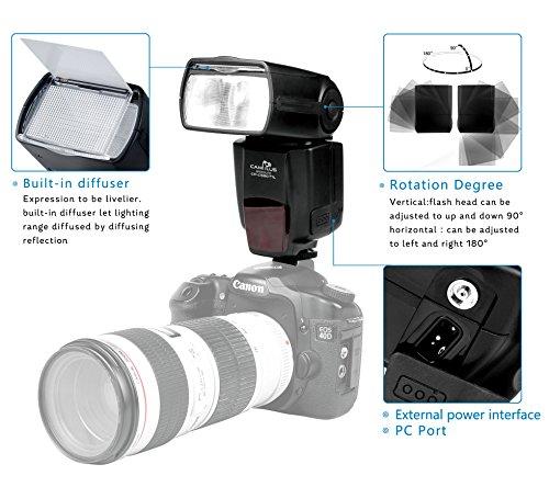 CameraPlus - CP-M580 2.1'' display LCD Speedlite Flash (M, Multi, S1, S2) con The Hot Shoe standard per Canon Nikon Sony Olympus Panasonic Fujifilm Pentax Sigma Minolta Leica e le altre reflex digitali SLR Film Reflex e fotocamere digitali single-contatto Hot Shoe