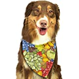 Sdltkhy Apricots Apples Grapes and Nuts Triangle Bandana Scarves Accessories for Pet Cats and Dogs - Gifts