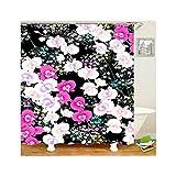 KnSam Anti-Schimmel Duschvorhang Blume Bad Vorhang Anti-Bakteriell, Waschbar, Wasserdicht PEVA inkl. 12 Duschvorhangringe für Badzimmer - Stil 3 180x200cm