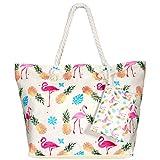 MOOKLIN Große Strandtasche mit Reißverschluss Sommer TascheVerschluss Damen Shopper Tasche Schultertasche Schwimmbad Badetasche Umhängetasche Beach Bag (STB-A)