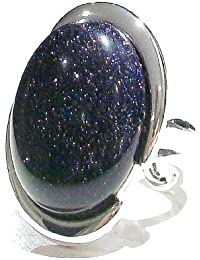 Large Cut Out Cabochon Ring w/ Sparkly Blue Goldstone - Adjustable